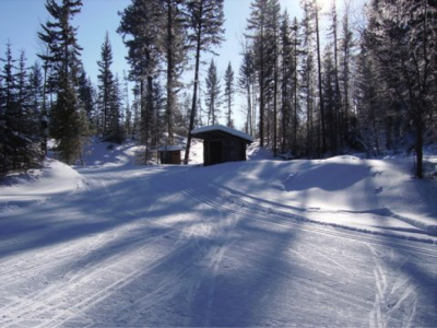 Shelters and outhouses along various trails