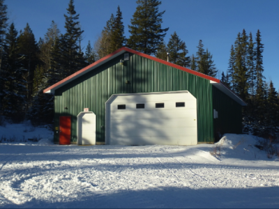 A Machine shed to store the trail grooming equipment